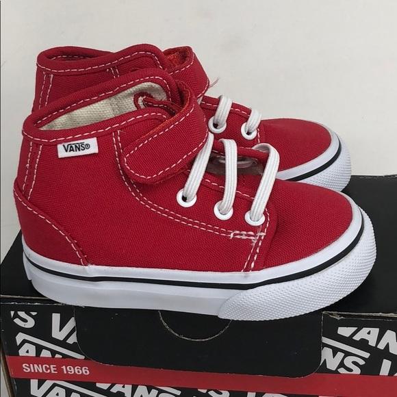 Vans 106 Hi Red Canvas Elastic Laces Velcro Strap Boutique